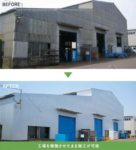 工場を稼働させたまま施工が可能